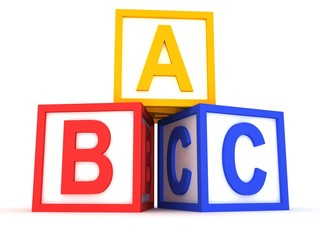 abc yellow, red and blue blocks