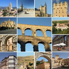 collage with landmarks of Segovia