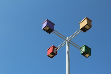 Colorful lamppost
