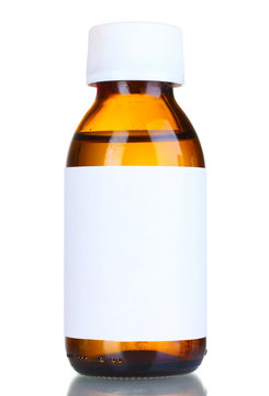 Liquid medicine in glass bottle isolated on white