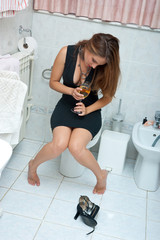 attractive drunk woman with wine