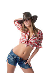 Beautiful young cowgirl stand with naked stomach