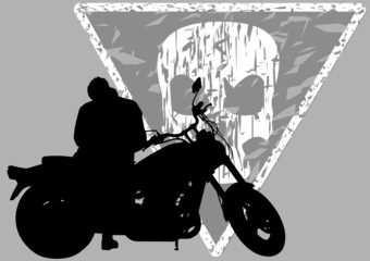 Wall Mural - Motorbike and scull