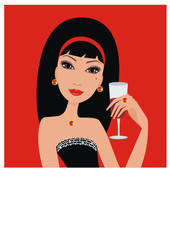 Beautiful woman with a wine glass. vector.