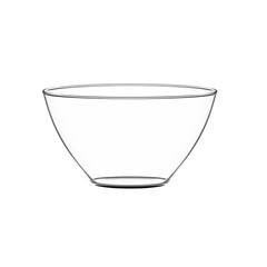 Empty bowl glass isolated on white.