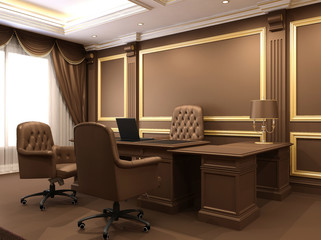 Modern interior. Office space. Wooden furniture in Luxurious apa