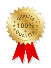 Tampon « 100% QUALITE » (garantie logo totale assurée)