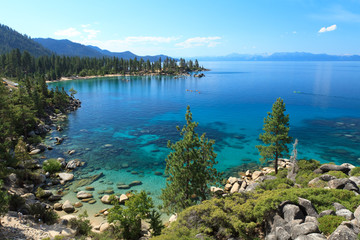 Wall Mural - Lake Tahoe overview with kayakers on water