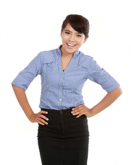 portrait of happy young asian business woman