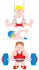 Gymnast, swimmer and weightlifter
