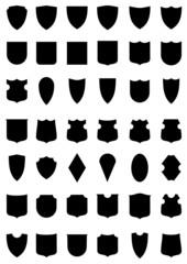 Vector set of heraldic shields. Armorial symbols.