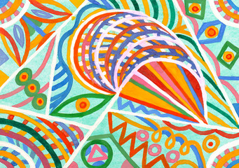 abstract ornament from watercolor on paper