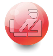 "Red Shiny Orb Button ""Customs Symbol"""