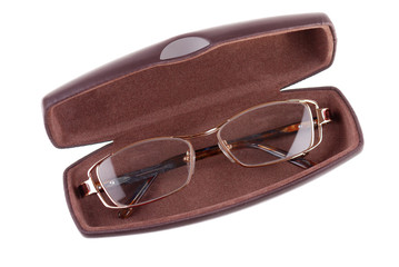 The glasses in a case on white