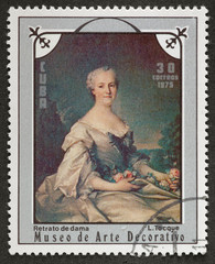 Postal stamp. Portrait lady, 1975