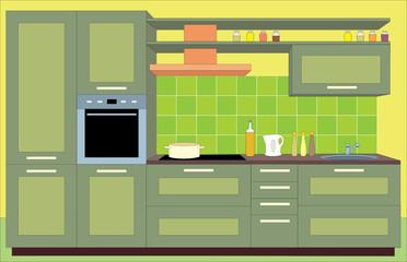 Kitchen furniture. Interiors. vector
