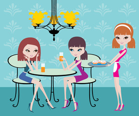 Friends in cafe and the waitress. vector