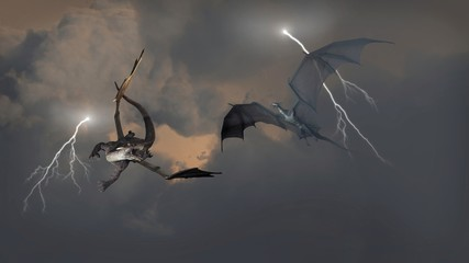 Dragons Fighting in Storm Clouds