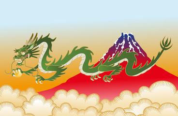 龍と赤富士