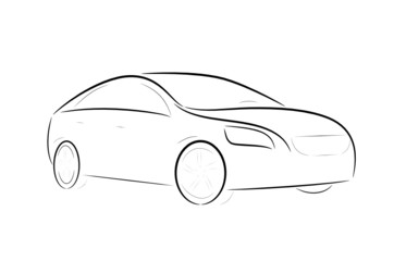 Cartoon silhouette of a design car