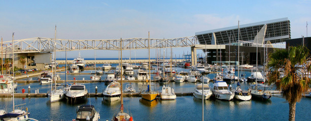 """panorama of port of barcelona """"Port Forum"""" with yachts, palm tre"""