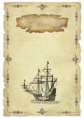 Old paper with sailboat