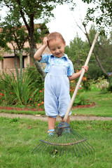 little boy raking in the garden