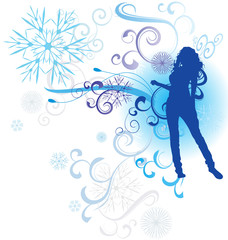 winter abstract woman silhouette vector illustration