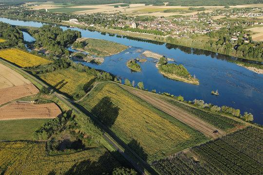 La loire à Saint-Dyé-sur-Loire vu du ciel