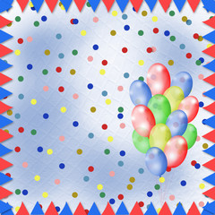 Bright multicolored background with balloons and confetti