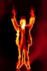 business man on fire