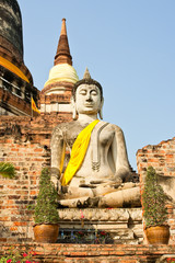 Buddha Status and Pagoda at Wat Yai Chaimongkol, Ayutthaya, Thai