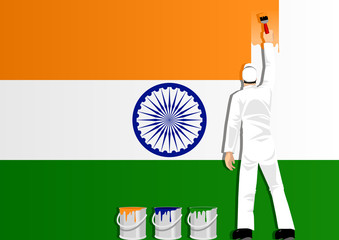 Illustration of a man figure painting the flag of India