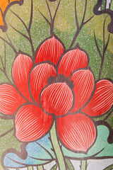 Wall painting lotus, chinese temple, thailand