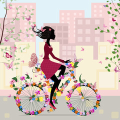 Foto op Plexiglas Bloemen vrouw Girl on a bicycle in the city