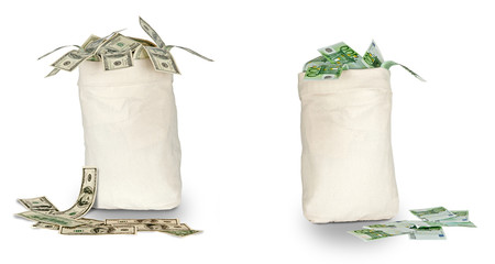 Bags with euro and dollars