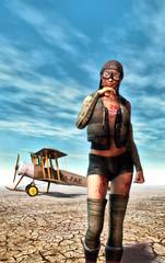 steampunk aviatress girl and plane