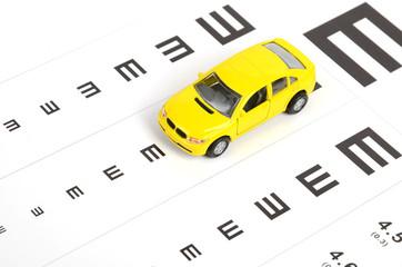 Toy car and eyesight chart