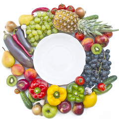 The group of vegetables and fruits with plate