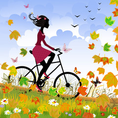 Printed roller blinds Floral woman Girl on bike outdoors in autumn