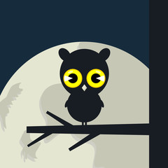 The owl sits on a tree branch. A vector illustration