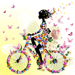 Foto op Plexiglas Bloemen vrouw Girl on a bicycle in a romantic