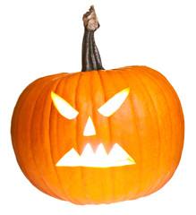 Halloween scary jack'o'lantern pumpkin face isolated on white