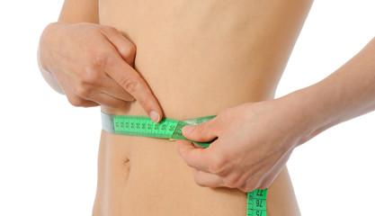 female waist being measured
