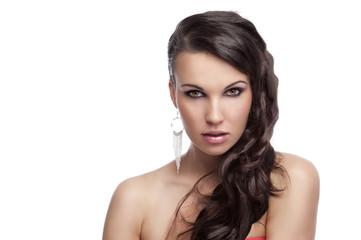 brunette with long hair silver earrings