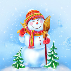 Snowman with a broom and a funny squirrel on a winter background