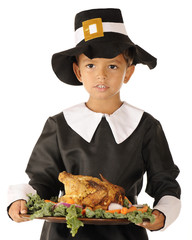 Pilgrim Boy Serving the Thanksgiving Feast