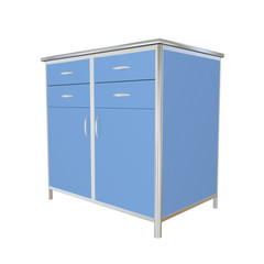 Blue and stainless steel metal medical supply cabinet, 3d illust