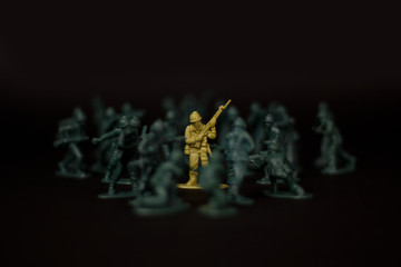 Toy soldier surrounded