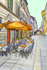 Foto op Plexiglas Drawn Street cafe old town - illustration sketch